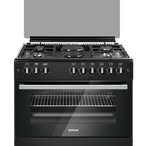 Bruhm 90x60cm, 4 Gas Cooker + 2 Electric Cooker with Electric Oven (BGC-9642S-Black)